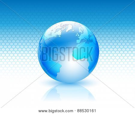 Illustration globe design on a blue background.