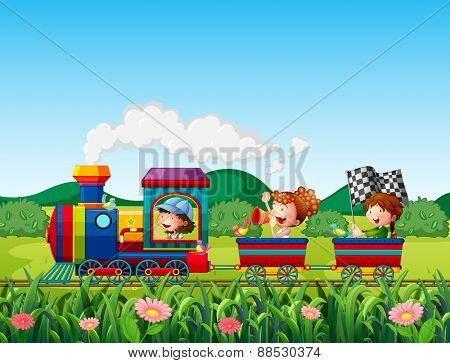 Kids in a train in the field
