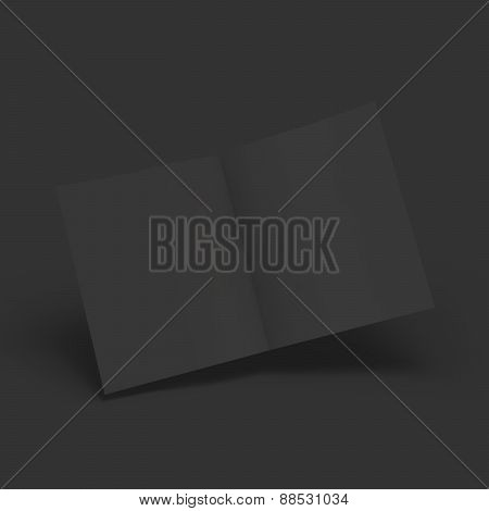 Black blank magazine spread. Business mockup template.