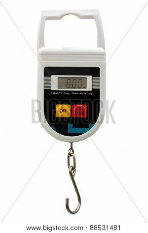 Portable electronic scale on white background