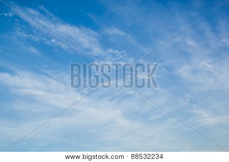 Blue Sky With Light White Cirrus Clouds