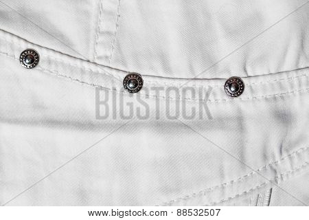 Part Of White Jeans. Macro Photo
