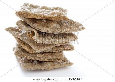 Stack Of Homemade Whole Wheat Crackers