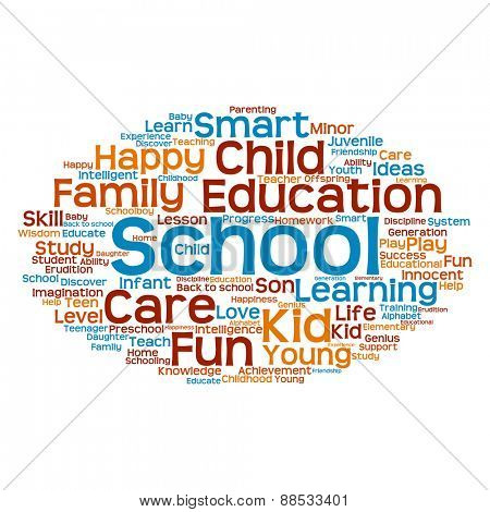Concept or conceptual blue and orange child education abstract word cloud isolated on white background