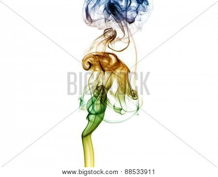 colored smoke isolated on white background