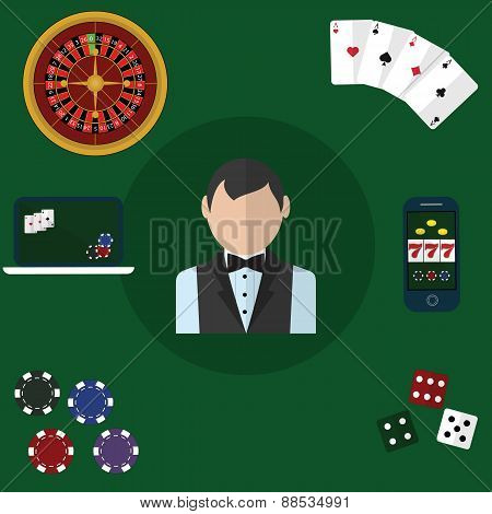 Colorful flat vector illustration concept. Quality flat design. Gambling icons, casino icons, poker