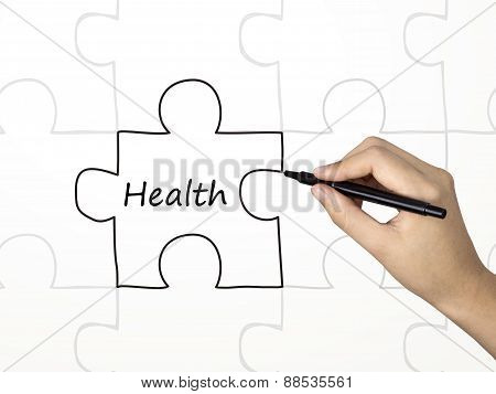 Health Word And Puzzle Drawn By Human Hand