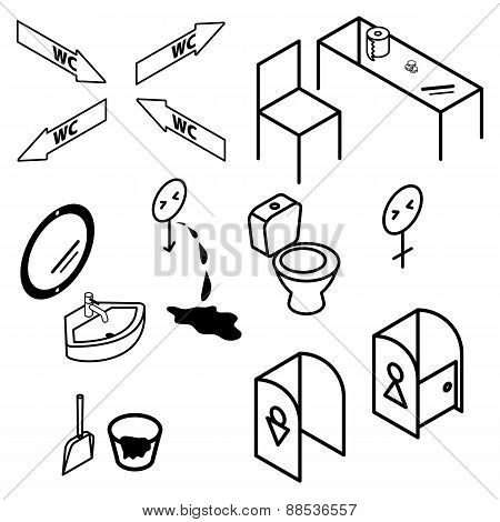Isometric Bathroom And Toilet Apartment Interior