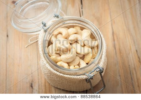 Raw Unsalted Cashews In Glass Jar