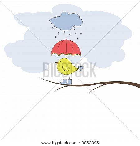 Romantic card with bird. Vector illustration