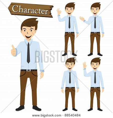 Businessman Character Set Vector Illustration