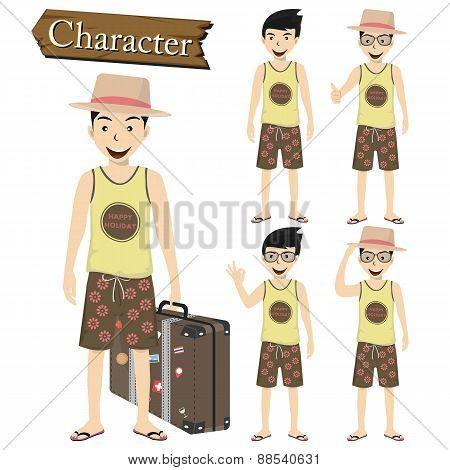 Traveler Character Set Vector Illustration