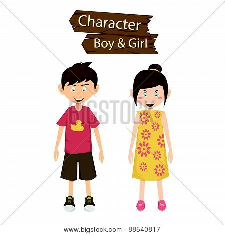 Boy And Girl Character Vector Illustration