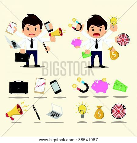 Businessman Worker Character Icon Set Vector