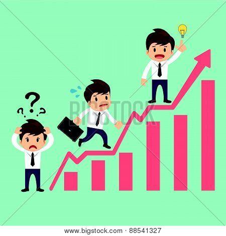 Businessman Over Growing Chart Vector Illustration