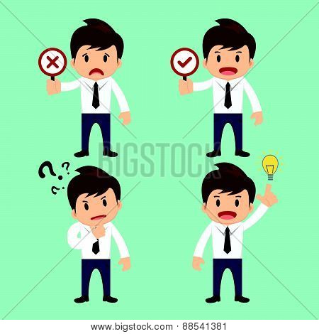 Businessman Present Wrong,right And Present Thinking,idea Vector Illustration