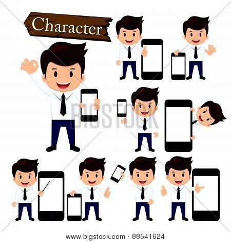 Businessman Present Phone Character Set Vector