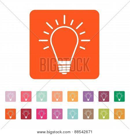The Light Lamp Icon. Idea Symbol. Flat