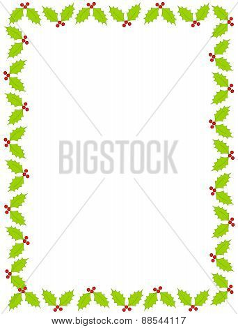 Chriatmas Border With Holly And Berries