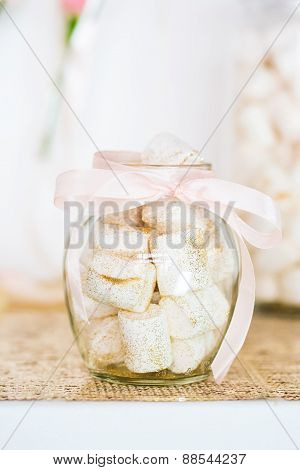 Marshmallows In Beautiful Glass Dish