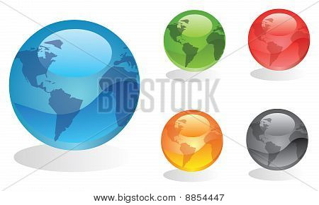 Set of colourful earth globes