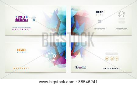 Four elegant geometric abstract banners.