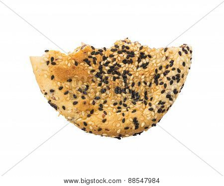 Bitten Red Bean Filled Bread Isolated On White Background