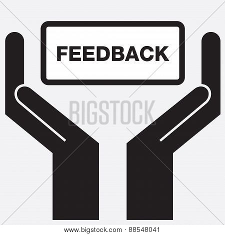 Hand showing free feedback sign icon.