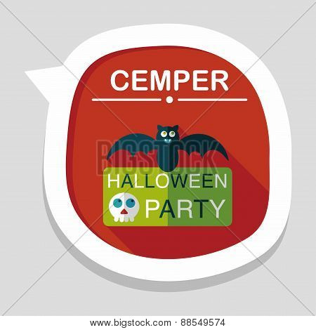 Halloween Party Sign Flat Icon With Long Shadow,eps10