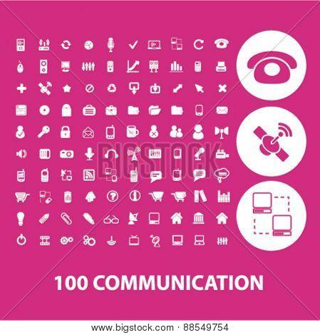 100 web internet communication icons set, vector