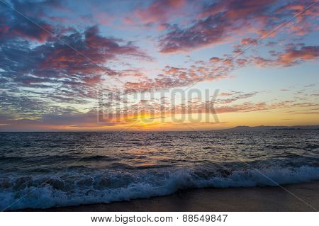 Ocean Sunset Sky Waves Beach Clouds Colorful