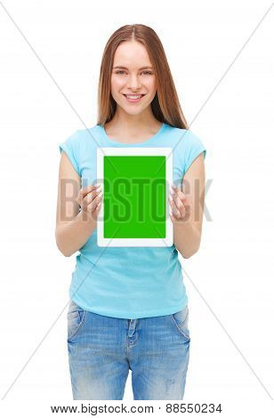 Young Beautiful Woman Holding White Tablet With Copyspace - Isolated On White.