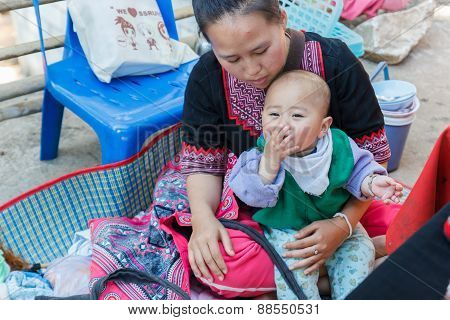 Thailand Hill Tribe Girl Wearing Traditional Costume With Her Daughter