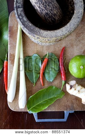 Tomyum Ingredients With Mortar