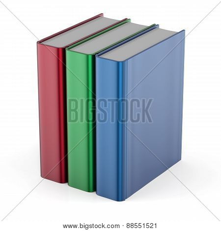 Books Three Blank Cover Template Standing Textbook Colorful