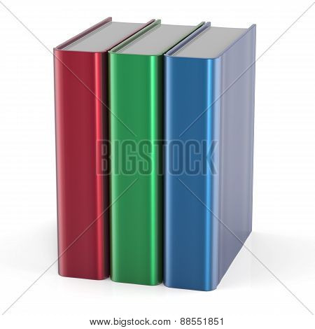 Three Books Red Green Blue Blank