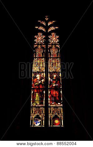 Stained glass windows in St Pierre Cathedral