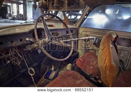 Old abandoned car interor