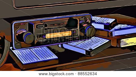 vector illustration and cassettes and audio system car