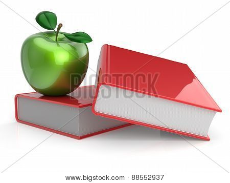 Books Apple Red Green Textbook Education Studying Concept