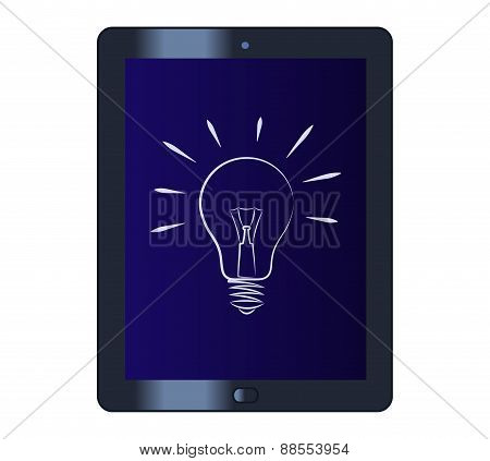 Symbol of the light bulb on the tablet computer