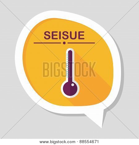 Thermometer Flat Icon With Long Shadow,eps10