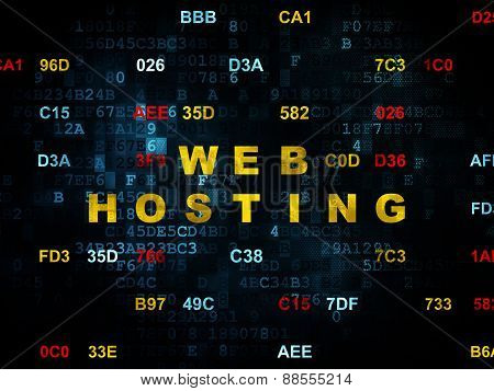 Web development concept: Web Hosting on Digital background