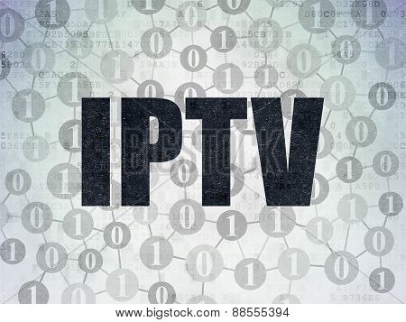 Web design concept: IPTV on Digital Paper background