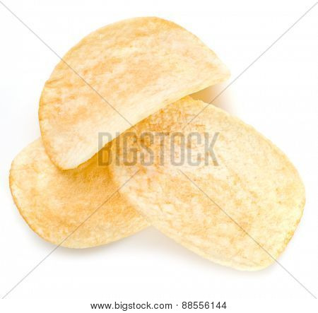 Potato chips isolated white background.