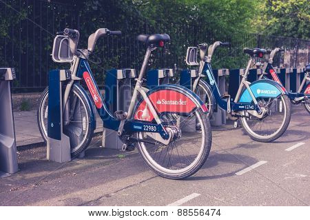 Docking Station With Rental Bikes In London