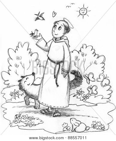Saint Francis of Assisi black and white