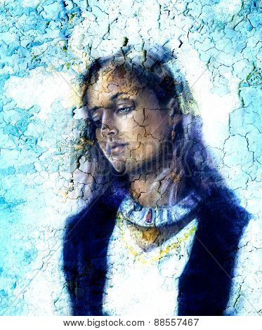 Woman  Mystic Face, Crackle Structure Background  Effect, Collage