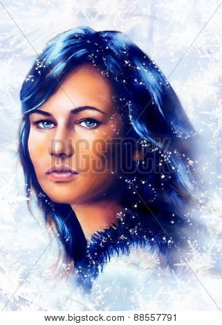 Ice Queen - Beautiful Woman In Winter, Painting Collage.