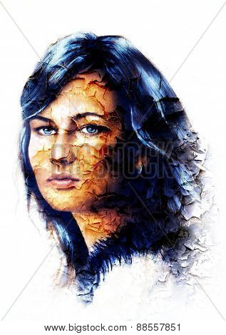 Young Woman Portrait, With Long Dark Hair And Blue Eye , Color Painting, White Background. Crackle E